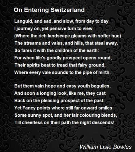 entering switzerland poem  william lisle bowles
