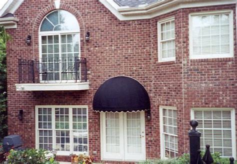 Navy Sunbrella Dome Awning Over French Doors