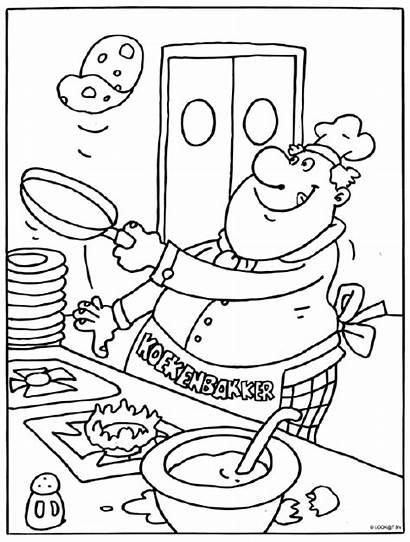 Kleurplaat Eten Bakker Pannenkoeken Kleurplaten Voedsel Koken