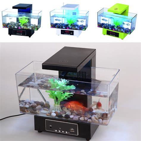 mini usb fish tank aquarium led light sound recycled water small electronic ecological aquarium