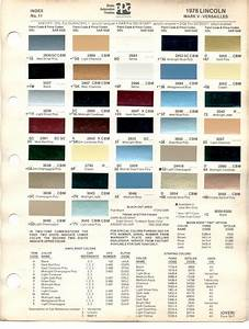 1978 Lincoln Continental Models Lineup  Color Code Reference Guide