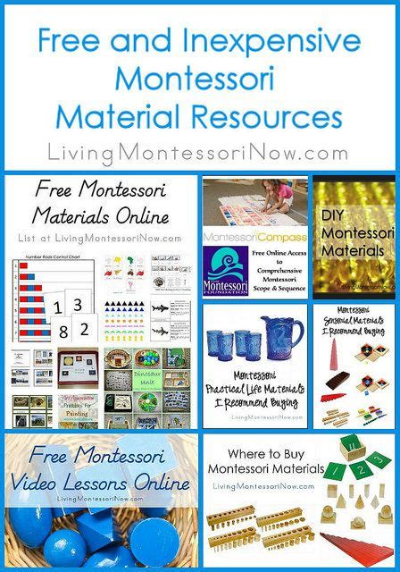 free or inexpensive montessori material resources