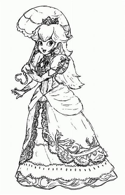 Peach Coloring Princess Pages Printable Mario Colouring