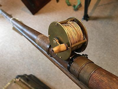 antique 1800s wood fishing rod brass reel sporting tackle home cottage decor primitives