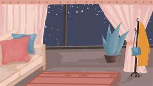 Girl Room Decoration Cartoon Background, Room, Sofa, Plant ...