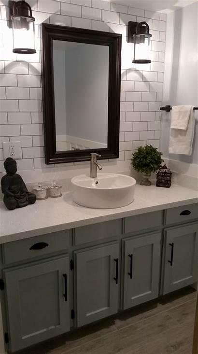 Bathroom Tile Backsplash Subway Wood Floor Sink