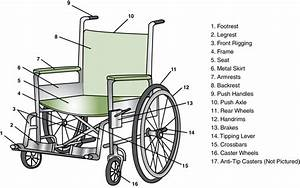 Conventional Manual Wheelchair With Component Parts