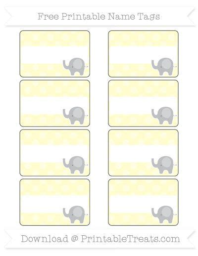 For the background, all use a white color option with elephant picture and ballon. Free Cream Dotted Pattern Elephant Name Tags | Name tags ...
