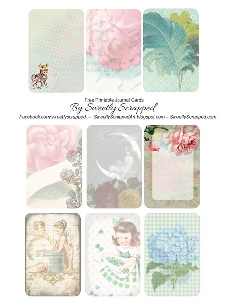 sweetly scrapped  printable journal cards