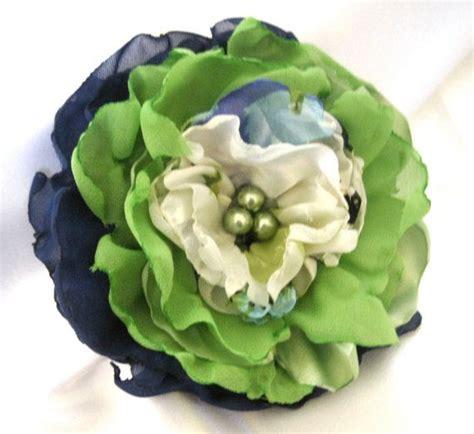 navy lime green  cream fabric wedding flower hair clip