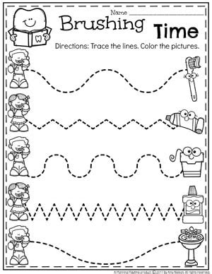 preschool dental health planning playtime 415 | Healthy Teeth Worksheet for Preschool Dental Health Theme Tracing.