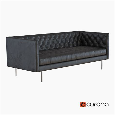 west elm modern chesterfield leather sofa model max obj
