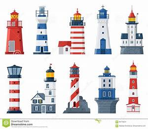Flat Lighthouses And Sea Guide Lights Stock Vector