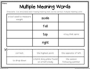 multiple meaning words homographs by second grade smiles tpt