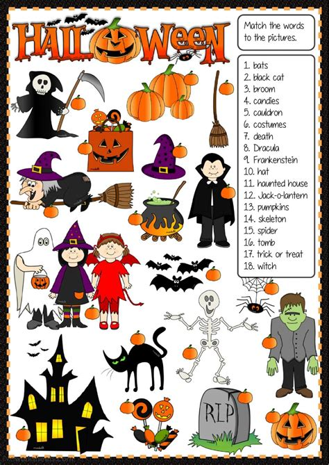 halloween matching interactive worksheet