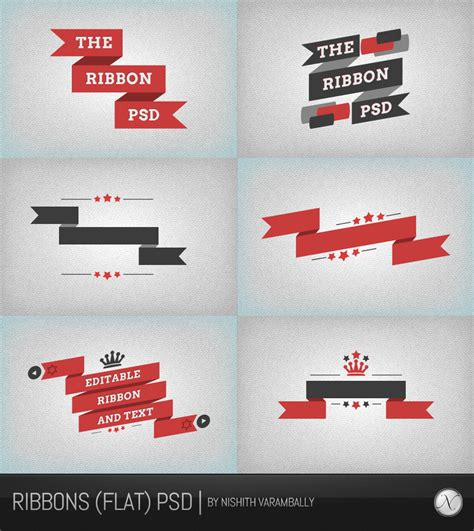 Ribbon Flat ribbons flat psd by nishithv on deviantart