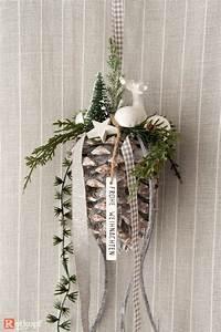 Fensterdeko Zum Hängen : tannenzapfen zum h ngen wei grau weihnachtsdekoration ~ Watch28wear.com Haus und Dekorationen