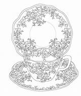 Tea Coloring Issuu Pages Elegant Flower Cup Printable Sheets Embroidery Books Mandala Patterns sketch template