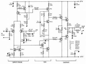 Figure 4  50 W Class B Amplifier Circuit Diagram  Transistor Numbers Correspond With The Generic