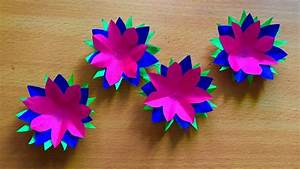 Three color paper flowers art and craft Beautiful