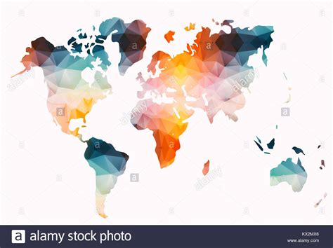 colorful world map low poly colorful world map stock photo 170934686 alamy