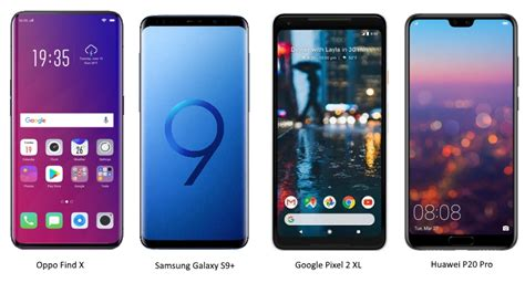 oppo find x vs samsung galaxy s9 vs huawei p20 pro vs pixel 2 xl specifications price