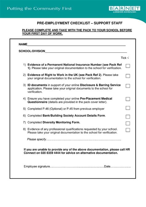 pre employment checklist examples  word examples