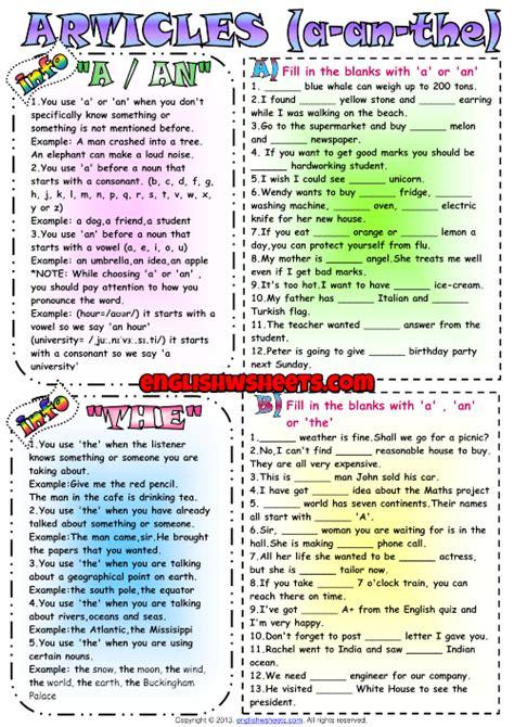 Definite and Indefinite Articles ESL Exercises Worksheet