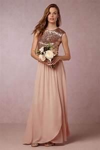 Long Rose Gold Sequin Chiffon Bridesmaid Evening Dresses