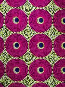 Pink and Lemon Green African print Ankara fabric