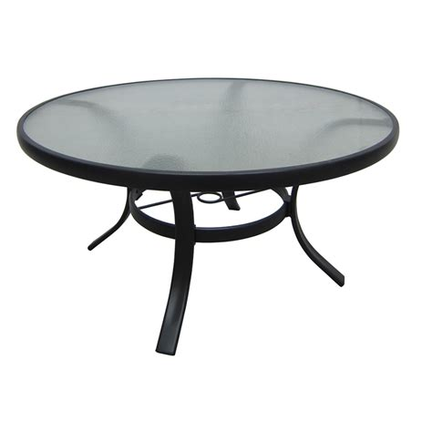 round glass top outdoor table shop garden treasures lake notterly 36 in glass top steel