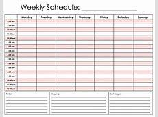 Hourly Weekly Calendar Template Two Week Planner Elemental