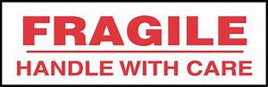 Stock Printed Tape - FRAGILE HANDLE WITH CARE: Adhesive ...