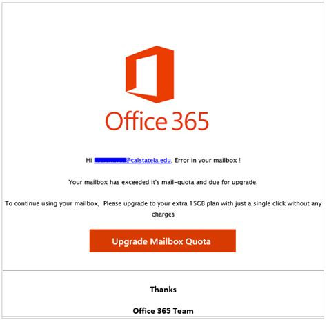 Office 365 Quota by Phishing And Spam Alerts Cal State La