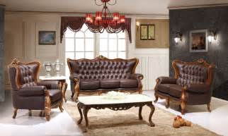 victorian living room design with dark brown leather sofa