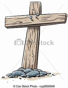 Stock Illustration of Wooden Cross - Two boards nailed