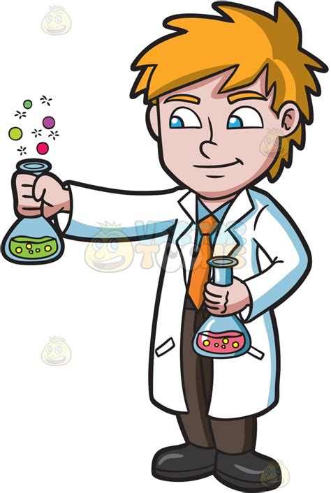 Scientist Clipart A Scientist Observing A Bubbly Chemical Reaction Clipart