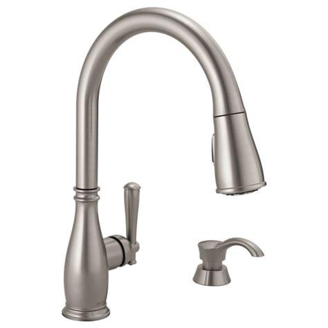 100 delta nickel pull down faucet savile kitchen