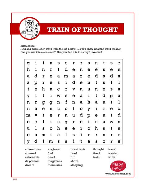 6th grade word search puzzles