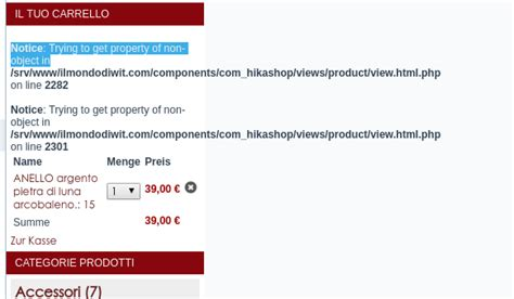 trying to get property of non object joomla template php hikashop solved notice trying to get property of non