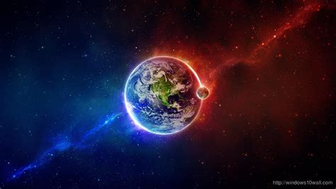awesome outer space earth moon red blue hd wallpaper