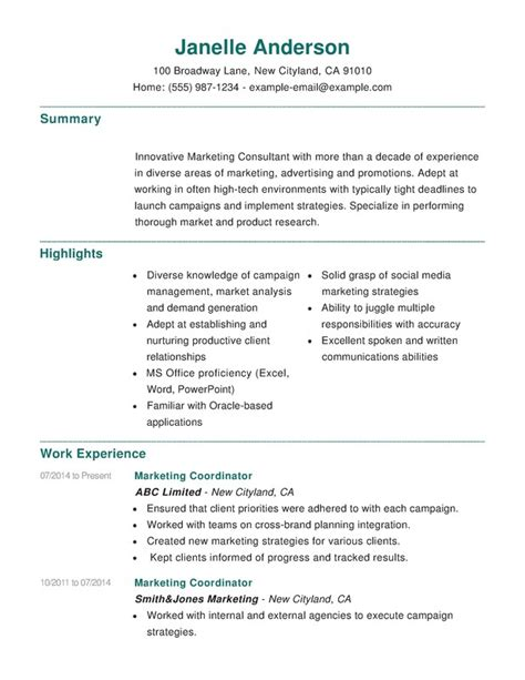 Resume Help by Marketing Combination Resume Sles Exles Format