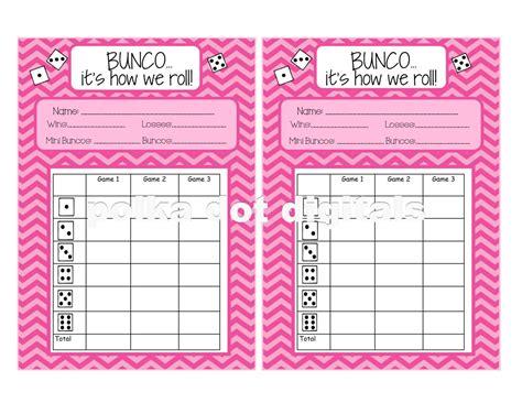 free bunco buy 2 get 1 free complete set pink chevron bunco score card