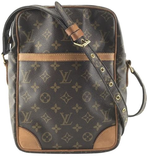 louis vuitton shoulder messenger danube  style zip zipper top long strap monogram coated