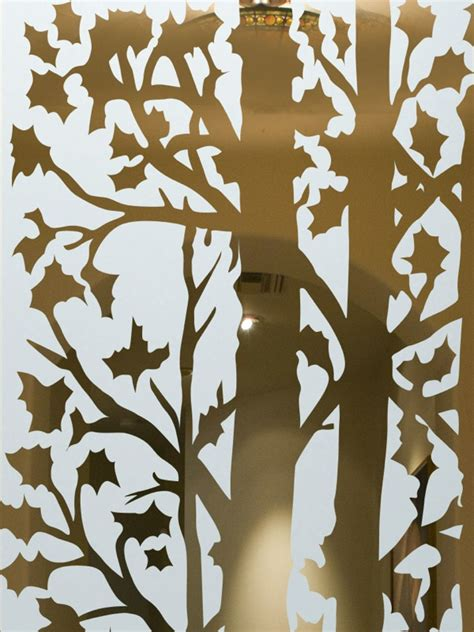 forest trees etched glass front doors rustic design