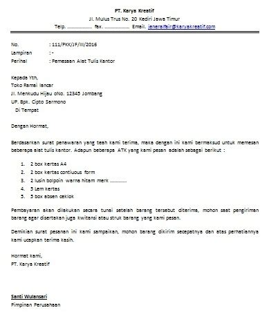 Contoh Surat Pesanan Jasa by Contoh Surat Pesanan Barang Order Cara Buat Surat