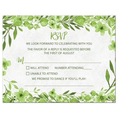 Greenery Botanical Foliage Wedding RSVP Card Green White