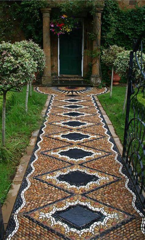 pathways design ideas  home  garden mosaic walkway