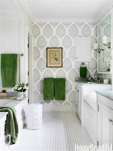 Katie ridder wallpaper grey and green bathroom for Gray and green bathroom