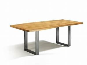 Esstisch Eiche Edelstahl : g nstig esstisch eiche mit baumkantenoptik massivholz in 180cm x 80cm ~ Indierocktalk.com Haus und Dekorationen